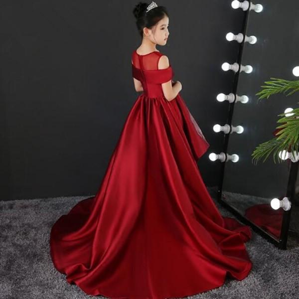 4b57638e0dfda Kids model show pianist stage performance long dresses flower girls ...