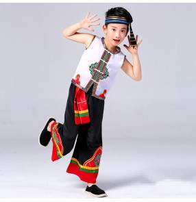 Boys chinese folk dance costumes for kids children china ancient classical traditional miao hmong drama dance clothes