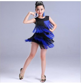 Kids girls latin dress for girls red royal blue pink fringes tassels competition stage performance rumba chacha dancing dresses costumes