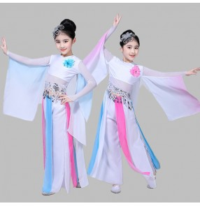 Kids ancient traditional chinese for girls white and pink folk dance costumes fairy yangko fan dancing drama cosplay classical dancing dresses