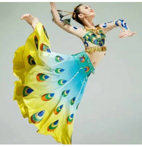 Kids chinese folk dance costumes peacock dancing yellow blue gradient color modern dance dancers photos cosplay performance dresses