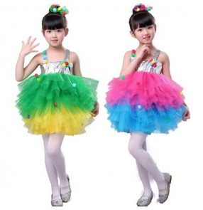 Kids jazz modern dance dresses rainbow colored singers stage performance singers party celebration princess dancing cosplay dresses