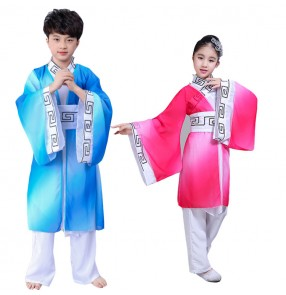 China folk dance costumes for girls boys ancient traditional taichi kungfu yangko fan dancing photos drama cosplay dance dresses