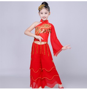 Kids Chinese fan dance costumes red color ancient traditional classical photos party cosplay dancing dresses