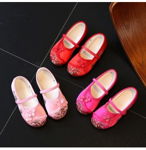Girls chinese folk dance shoes kids children embroidery pattern ancient dancing drama photos cosplay rubber soft soles stage performance flats shoes