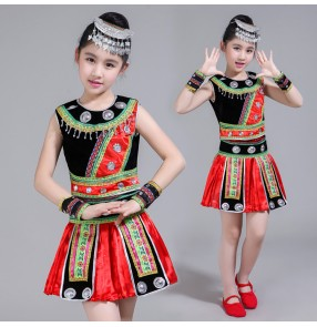 Kids chinese folk dance dresses for girls miao ethnic minority stage performance hmong drama cosplay performance costumes