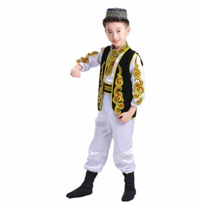Boys chinese folk dance costumes for kids children china ancient ethnic minority xinjiang Uighur stage performance photos cosplay clothes