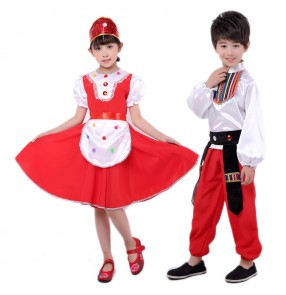 Kids Russian folk dance costumes for girls boys stage performance competition drama cosplay dresses