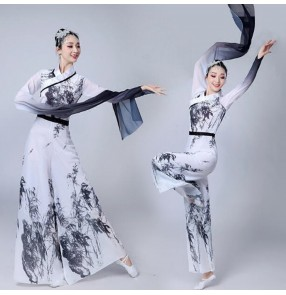 Women's chinese folk dance costumes waterfall sleeves ancient traditional yangko classical gradient white and black performance dresses
