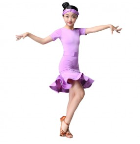 Kids competition latin dresses for girls children stage performance professional chacha rumba samba dancing costumes