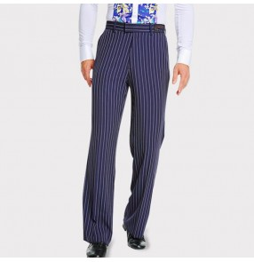 Male blue striped latin ballroom pants tango waltz stage performance professional competition samba chacha long trousers