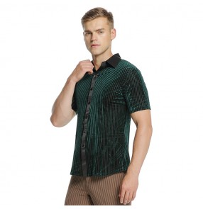 Men's velvet striped latin shirts dark green competition stage performance professional ballroom waltz tango tops shirts