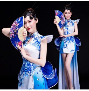 Women's modern dance jazz tuxedo dresses white and blue color oriental style gogo dancers singers night club photos performance dresses