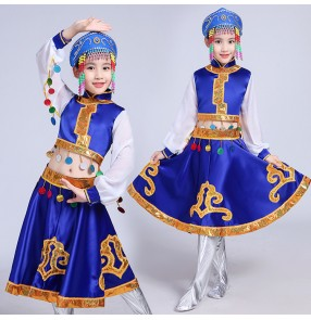 Kids chinese folk dance dresses girls royal blue red Mongolian national dancing photos cosplay party performance robes