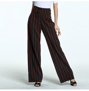 Women's striped ballroom dancing pants stage performance professional rumba chacha swing leg latin dancing long trousers