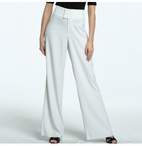 Striped latin dance pants long length white wine women's female high waist swing leg stage performance ballroom tango ballroom trousers