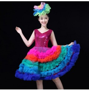 Jazz dancing dresses paillette pink royal blue singers dancers stage performance evening dresses cocktail birthday party cosplay dresses