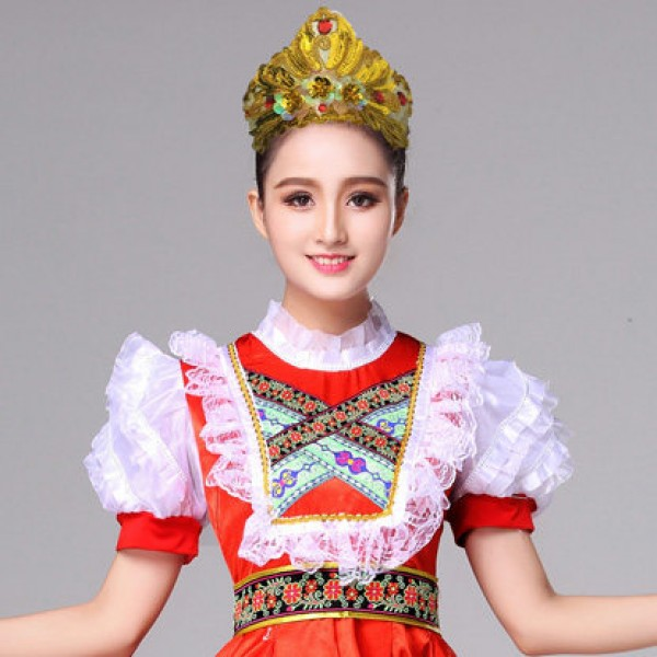 24661b089bf Russian Internationale folk dance dresses red color stage performance  European palace drama photos cosplay dance costumes