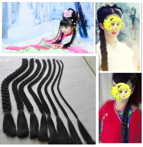 China Ancient traditional dance performance braids synthetic fiber for women girls photos dance studio drama cosplay plait pigtail braids25.59inch length 1pc