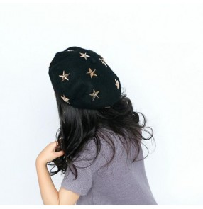 Girls jazz hiphop beret caps wool material fashion performance street dancing wool hat with stars