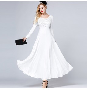 Women's ballroom dresses for female white long sleeves competition stage performance waltz tango chacha rumba dancing costumes