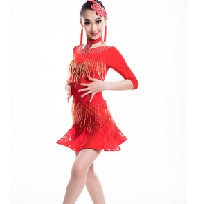 Girls latin dresses for kids children red competition stage performance professional rumba salsa samba chacha dancing dress