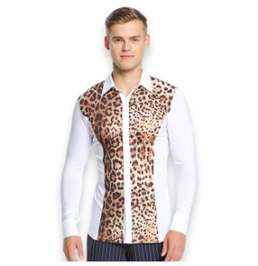 Men's latin shirts long sleeves leopard competition stage performance ballroom waltz dancing tops dance shirt