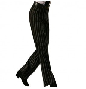Striped ballroom dance pants for male men's long length wide leg straight competition Latin salsa rumba dance trousers