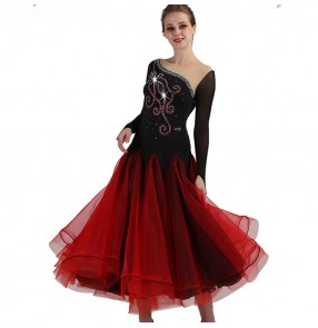 Women's long length ballroom dance dresses competition waltz tango diamond black and red professional dance dresses
