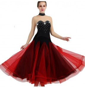 Competition ballroom dance dresses for women female black and red diamond professional stage performance salsa rumba chacha dancing long dress