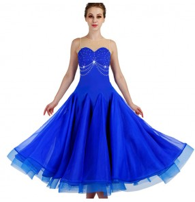 Royal blue diamond sleeveless competition ballroom dance dresses stage performance professional waltz tango dance dress