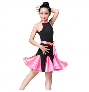 Girls latin dresses light pink dark green red competition stage performance professional chacha rumba samba dancing costumes