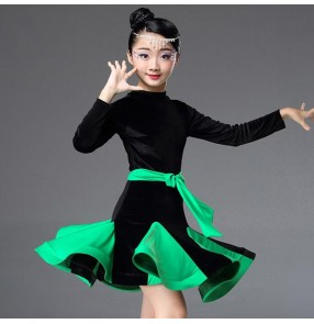 Velvet competition latin dresses for kids children girls professional stage performance chacha samba chacha rumba dancing costumes