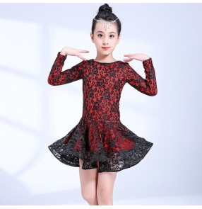Red with black lace latin dresses  for girls children long sleeves competition gymnastics stage performance salsa rumba chacha dancing costumes
