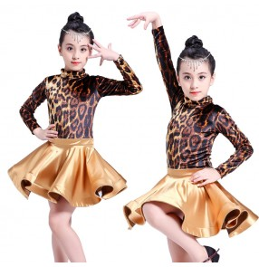 Velvet leopard ballroom dresses competition latin dress for girls children stage performance salsa rumba chacha dancing costumes leotards skirts
