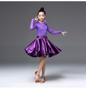 Girls ballroom dresses for kids children lace long sleeves stage performance competition rumba chacha salsa dancing costumes
