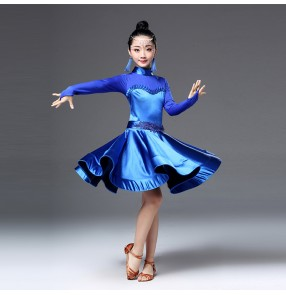 Girls latin dresses for girls violet royal blue red black ballroom competition stage performance professional rumba chacha dancing costumes