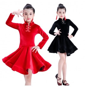 Kids latin dresses for girls red black velvet long sleeves competition stage performance ballroom salsa chacha dancing costumes dress