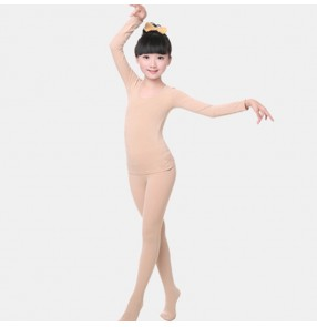 Kids skin color ballet dance underwear for girls long sleeves practice stage performance exercises costumes bottoms underwear tops and pants