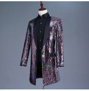 singer jazz dance Rainbow sequin blazers for men's male competition stage performance ds night club party dancing cosplay long coats