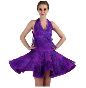 Violet Latin dresses for women female competition stage performance rumba salsa chacha dancing costumes