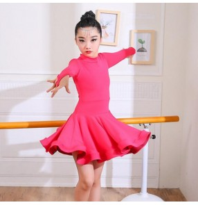 Girls latin dress long sleeves pink black competition practice stage performance salsa rumba chacha dancing costumes