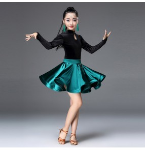 Kids latin dresses red dark green royal blue velvet competition long sleeves stage performance ballroom salsa chacha rumba dancing costumes skirts