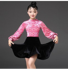 Kids latin dresses lace pink velvet long sleeves ballroom salsa rumba chacha dancing costumes leotard tops and skirt