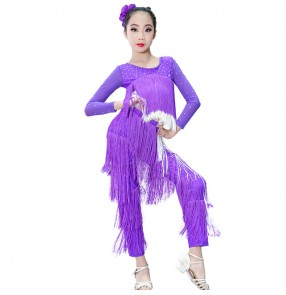 Girls latin dresses tassels for kids children violet pink black long sleeves diamond tops and long pants ballroom salsa rumba chacha dance costumes