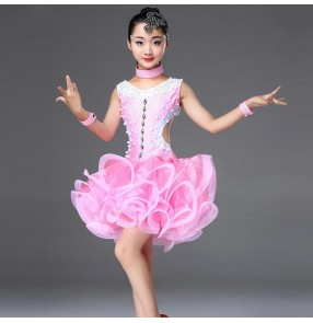Girls latin dresses mint pink royal blue ballroom salsa rumba beads professional competition stage performance dancing costumes dresses