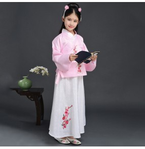 Chinese folk dance costumes for girls children kids ancient traditional hanfu tang princess photos performance anime drama cosplay dress robes
