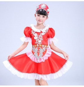 Kids Russian folk dance dresses palace anime red color drama photos Halloween party cosplay stage performance dancing robes