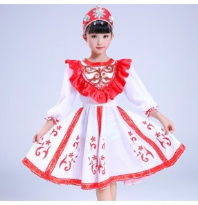 Kids Russian folk dance dresses costumes red color European palace drama cosplay stage performance competition dress