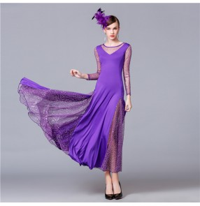 Ballroom dresses for women female violet black red long sleeves competition waltz tango long dress